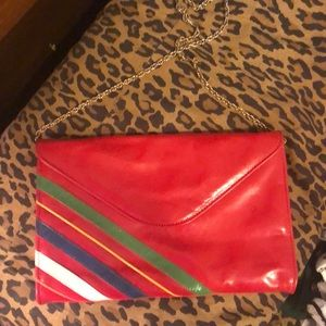 Vintage 80s red and stripe clutch